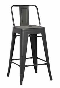Metal Bar Stools With Back 24 Inch Backs Counter Stool Black Barstools Set Of 2 756519676266 Ebay