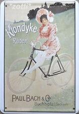 Blechpostkarte 10 cm x 14,5 cm Klondyke Räder Bach & Co Buchholz Sachsen #