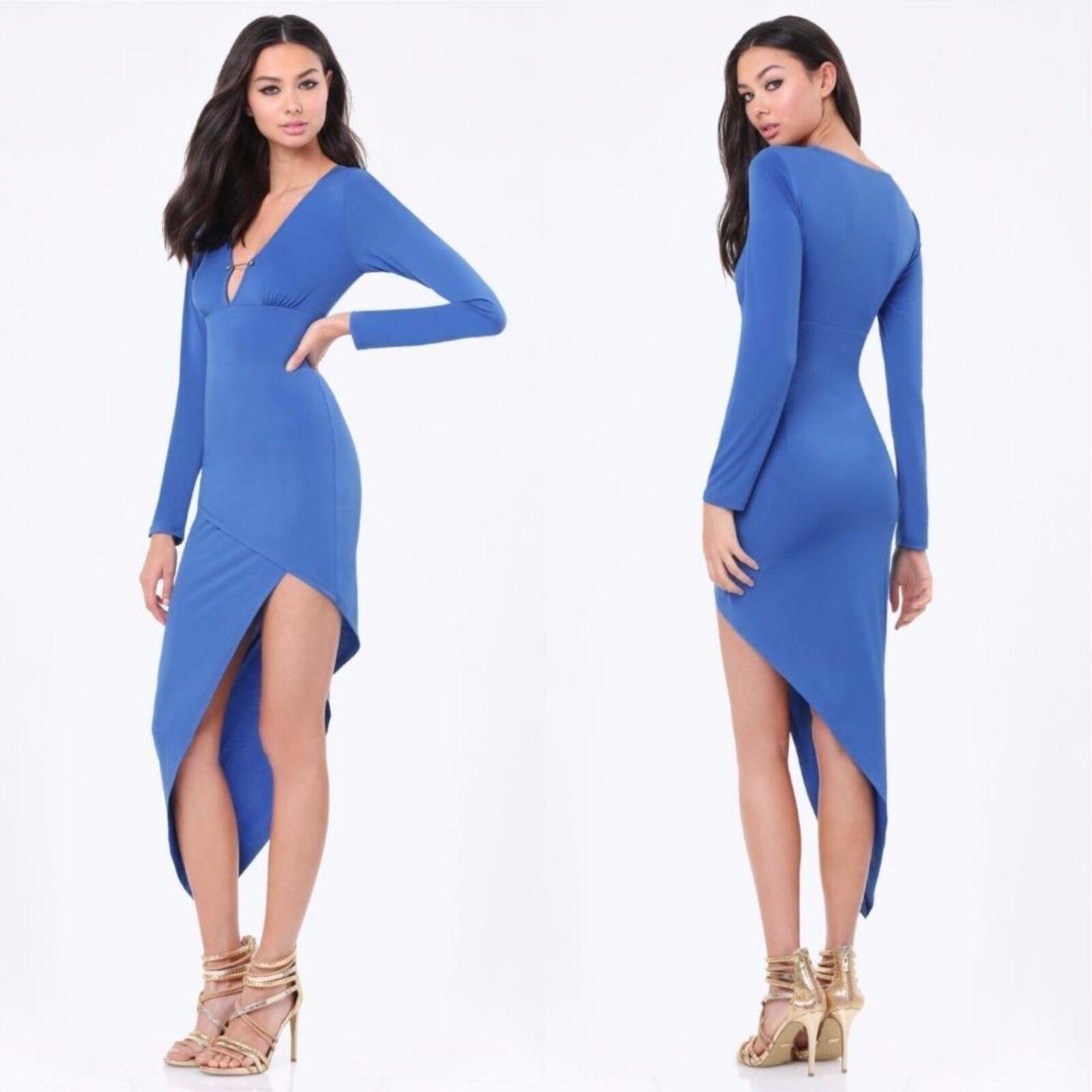 BEBE blueE BLAZE ASYMMETRIC DRESS NEW NWT  139 MEDIUM M