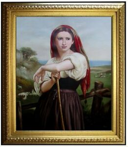 Framed-Hand-Painted-Oil-Painting-Repro-Bouguereau-Jeune-Bergere-20x24in