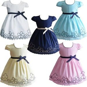 Bebe-fille-en-coton-robe-d-039-ete-Rose-Blanc-Jaune-Bleu-6-9-12-18-24-mois