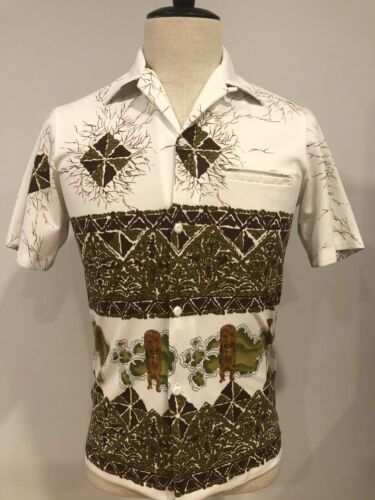 VTG 50s Mens Hawaiian Camp Shirt Tiki Cabana Wear
