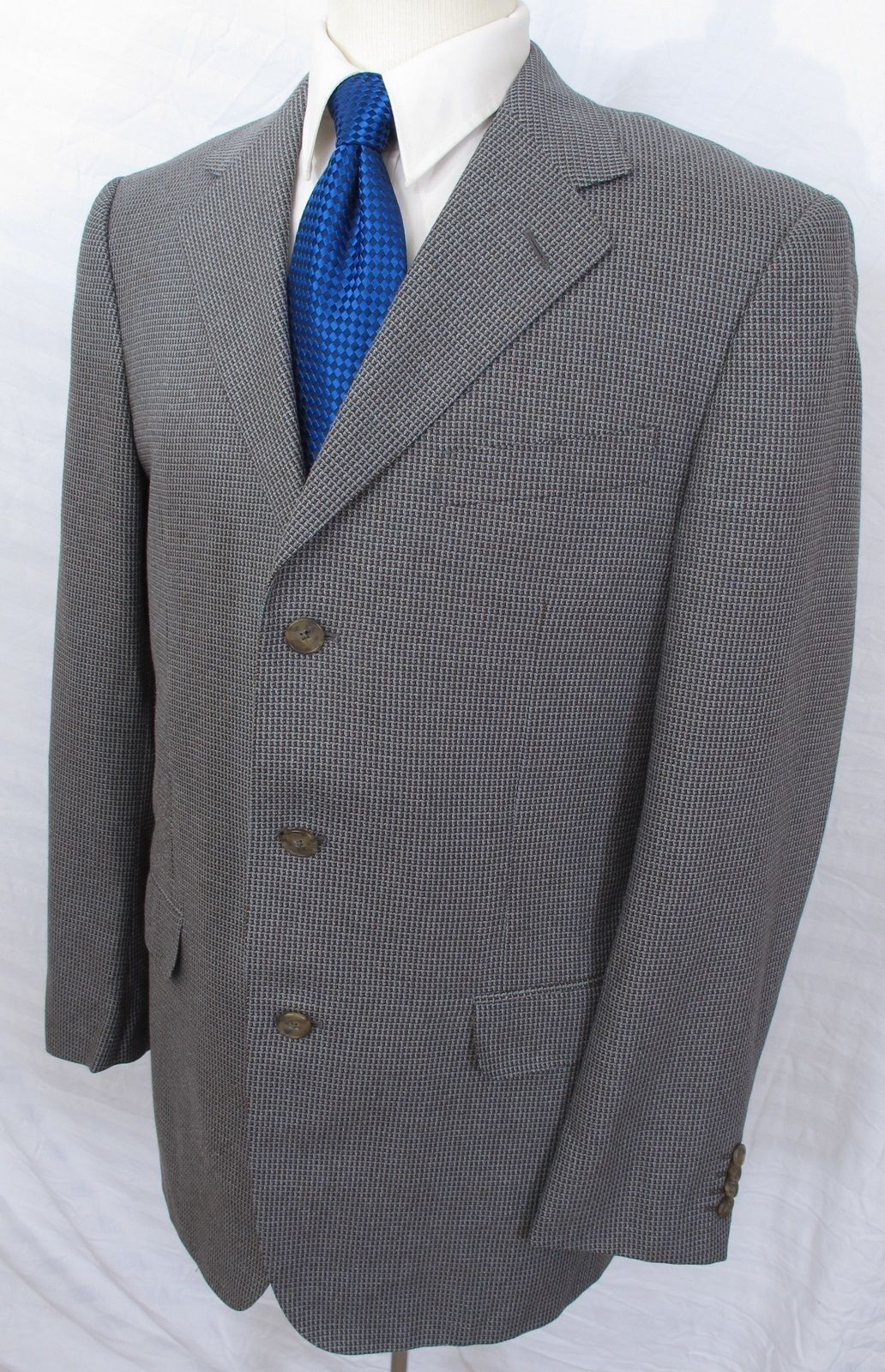 Ermenegildo Zegna Wool Silk Sport Coat grau Braun Houndstooth 40R PERFECT