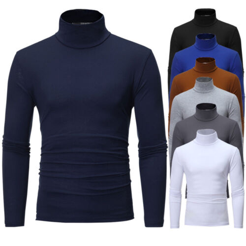 Men/'s Thermal High Collar Turtle Neck Skivvy Long Sleeve Sweater Stretch T-Shirt