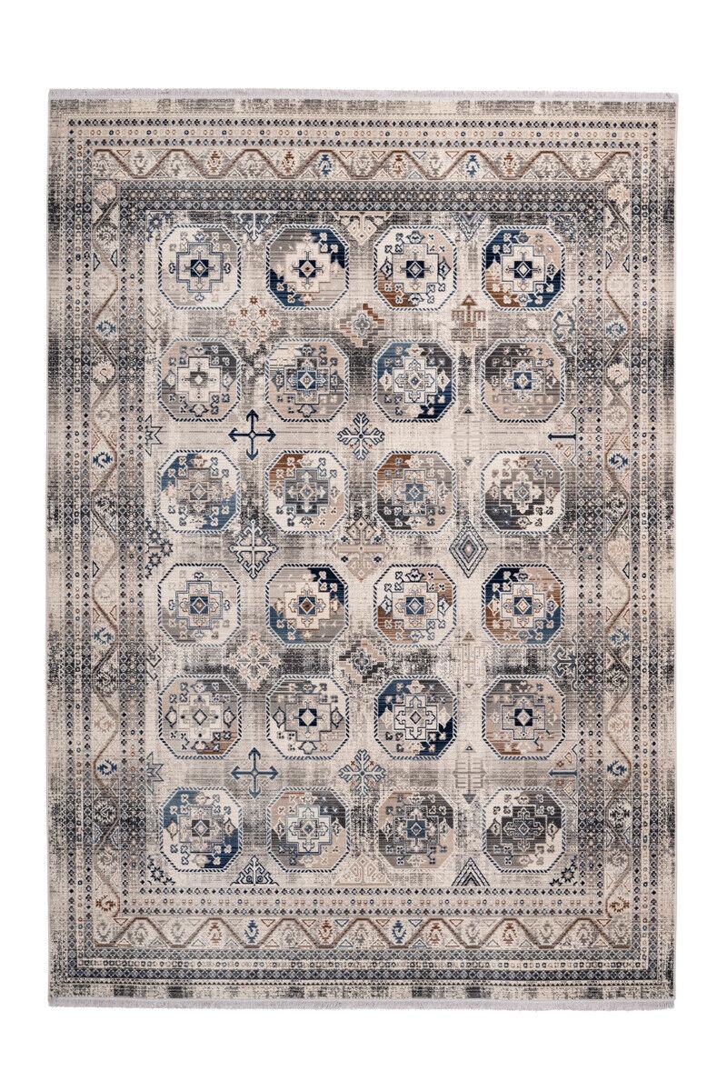 Alfombra Vintage Aztecas Étnica Oriental Franja Crema Beige Blau 160x230cm