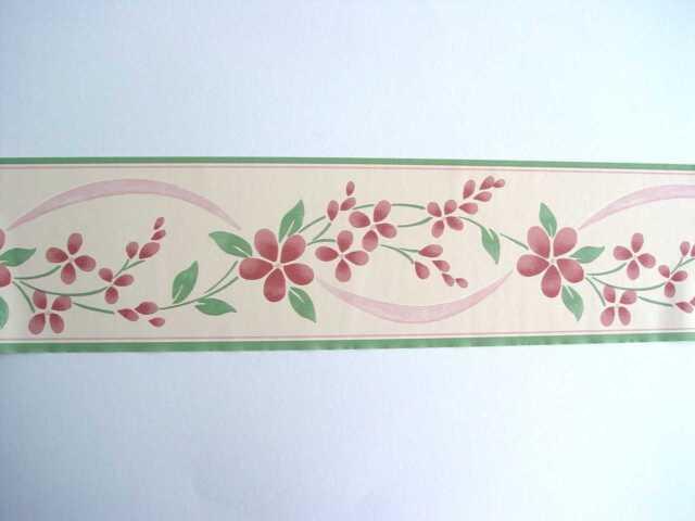 6 Bordüren 6x Bordüre selbstklebend 10cmx5m Frise Sheringham pink 30236