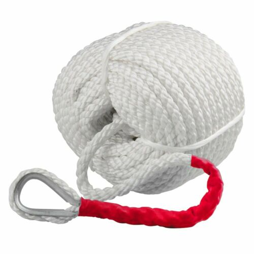"""3//4/"""" X150/' Twisted 3 Strand Nylon Anchor Rope Boat With Thimble Braided Dockline"""