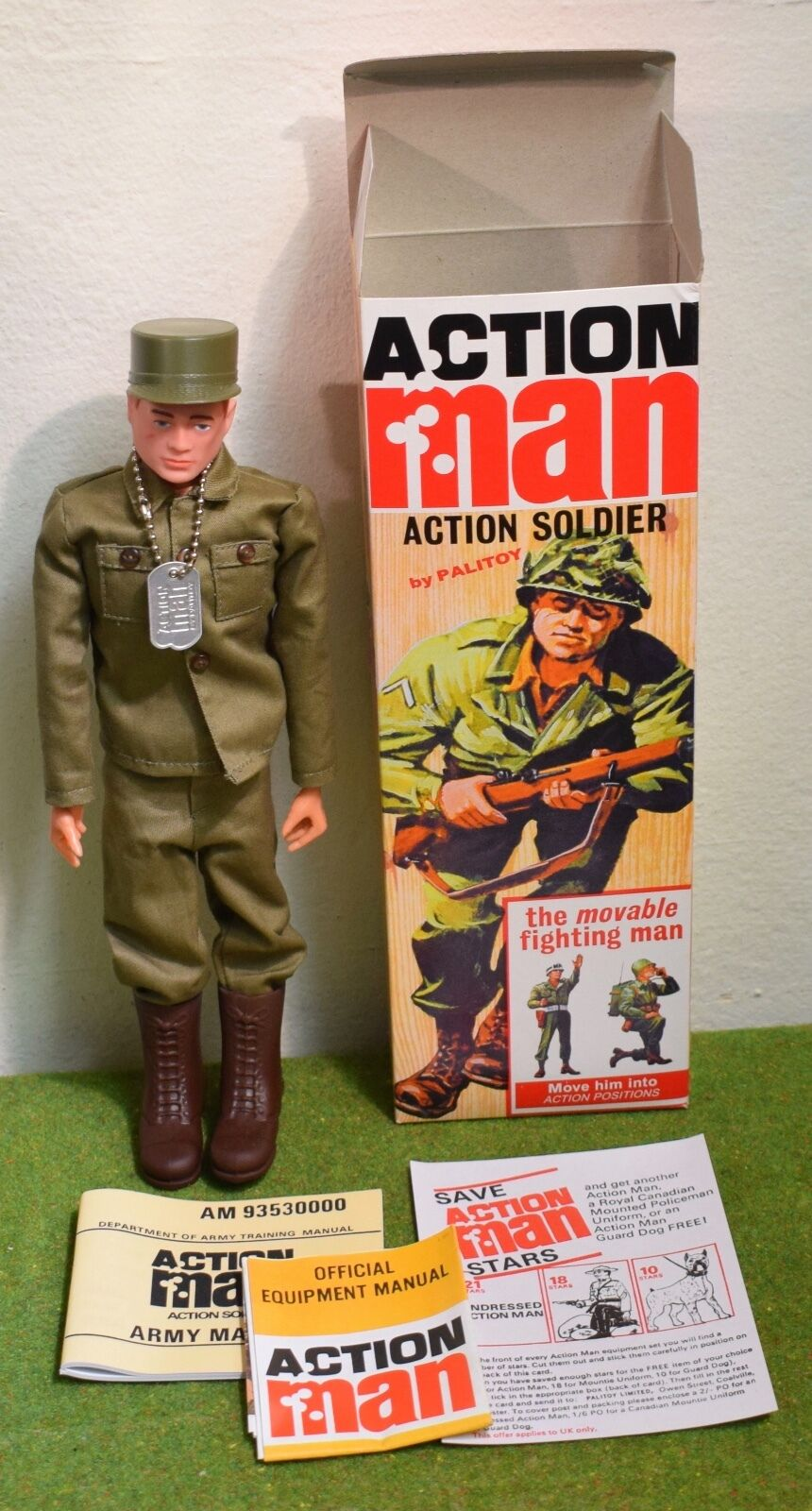 ACTION MAN 40th BOXED ACTION SOLDIER rot PAINTED HAIR HARD HANDS ( GI JOE )