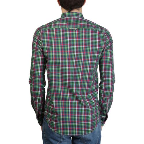 TG S-XL Superdry ms4he350f1 /_ GREEN SLIM Uomo Camicia Tempo Libero Camicia manica lunga shirt