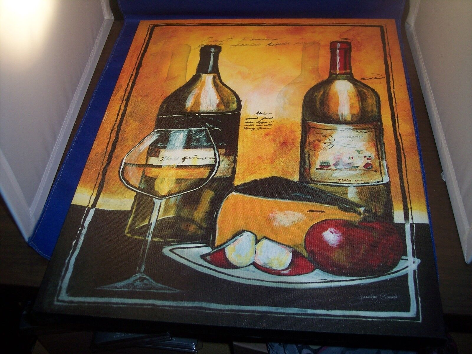 Canvas Wall Art Wine Bottles and Cheese 14  x 18