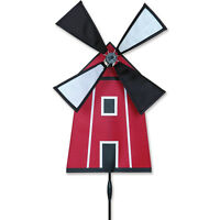 Rustic Red Windmill Staked Petite Wind Spinner W/ Pole & Mount Pr 25092