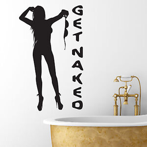 Image Is Loading Get Naked Bathroom Wall Art Sticker Naked Girl