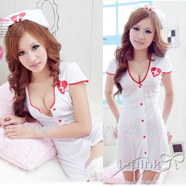 HOT Sexy Nurse cosplay costume Doctor Garter outfit Halloween fancy dress