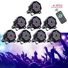 8PCS 80W 36 LED RGB Stage Lighting PAR Light +8 Remote DMX Party Disco DJ Lights