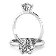 2 Carat Jewelry Round Cut Diamond Engagement Ring D/SI1 14K White Gold