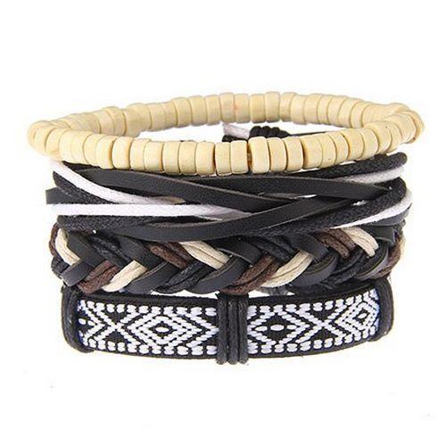 Punk Noir multicouche cuir véritable bracelet main Weave Hommes 4PCS//1Set