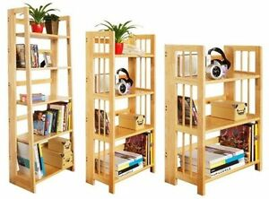 Image Is Loading Natural Rubberwood Book Shelf Stand Wooden Shelves Unit