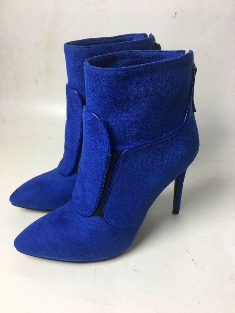 Womens Ladies Fashion Faux Suede Studs Pull Pull Pull On High Heel Ankle Boots shoes f2c12e