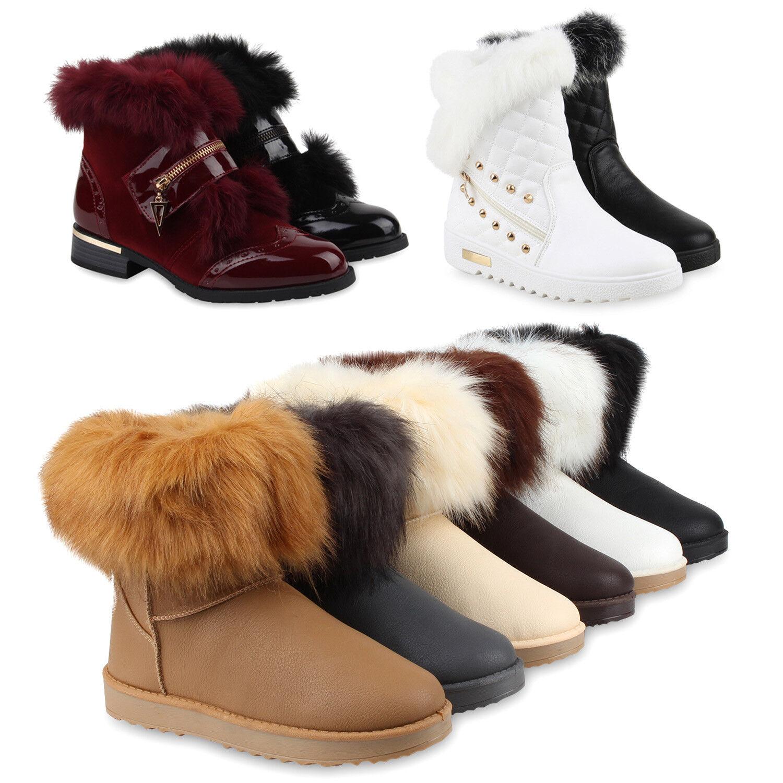 Extravagante Damen Gefüttert Stiefeletten Fell Boots Lack 77605 Schuhe
