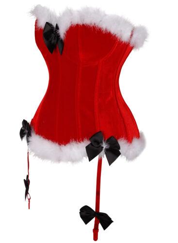 Women Santa Xmas Fancy Plus Size Overbust Corset Bustier Costume Christmas Dress