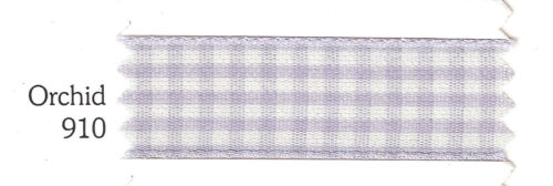 Berisford 7391 Gingham ORCHID LILAC LAVENDER Colour 910 Ribbon Small Check 10mm