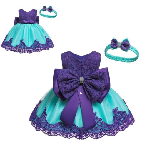 2PCS Toddler Baby Girl Kid Lace Bow Patchwork Party Tutu Dress Gown Headband Set