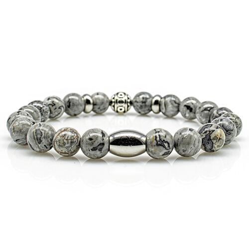 Jaspis Bracelet Bracelet Perles Bracelet Beads Balle Argenté Gris 8 mm Acier Inoxydable