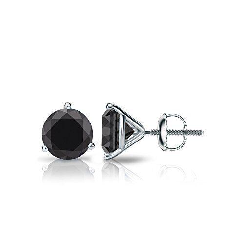 Round Cut Traitement thermique Noir Premium Diamant Martini Clous D/'Oreilles Or 14K