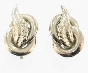 b6e59df4b Vintage 1950's Alice Caviness Silver Feather Screw Back Earrings ...