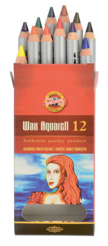 Wax Aquarell Colored Pencil Set KOH-I-NOOR Pastel Fine Crayon Watercolor 8284
