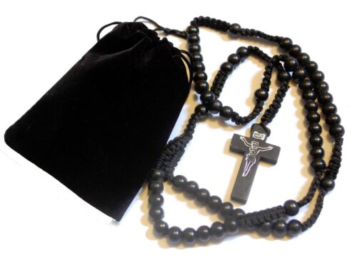 Mens Womens Black Brown Wood Rosary Bead Beads Necklace Cross /& FREE Gift Pouch