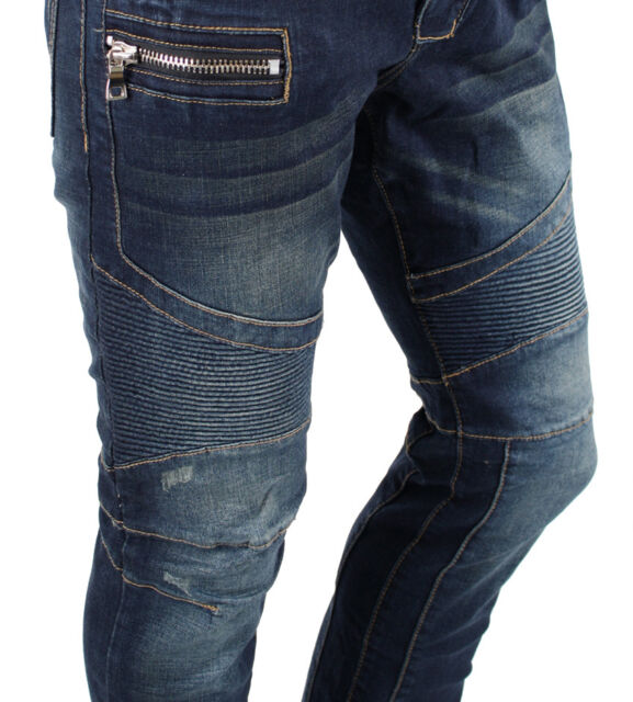 Mens Panel Zippers Biker Style Motorcycle Blue Denim Rider Jeans Big Sz 30-46