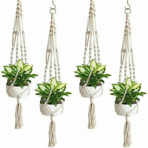 4PCS-Plant-Hanger-Flower-Pot-Plant-Holder-Large-4-Leg-Macrame-Jute-41-034-BIG-SALE