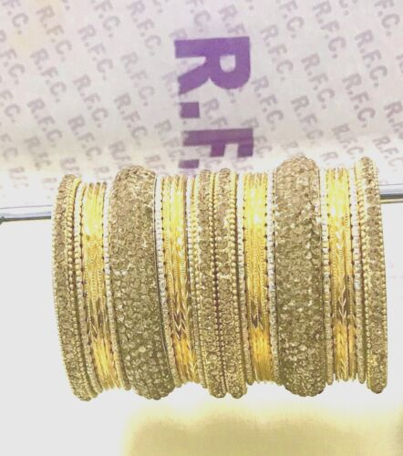Indian Bangles kara churi bracelet 10 piece Bollywood silver diamante style