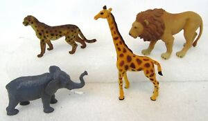 Vintage-Lot-of-4-CHINA-Africa-Safari-Animal-Elephant-Cheetah-Lion-Giraffe-Toys