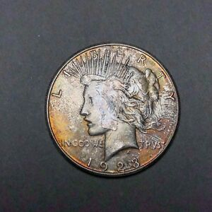 1923-S-Peace-Dollar-1-AU-Condition-Colorful-Tape-Toning