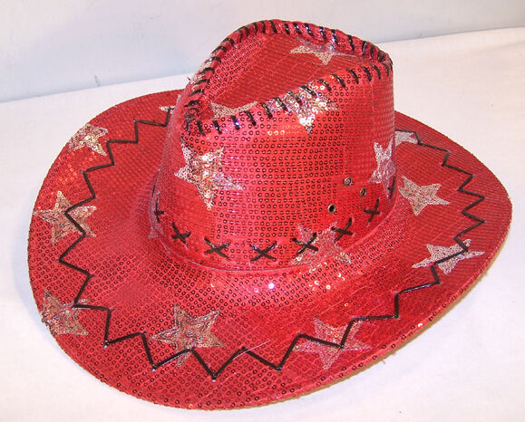 Buy Sequin Red Star Cowboy Hat Western Sparkle Costume Cap online  6039ac84d60