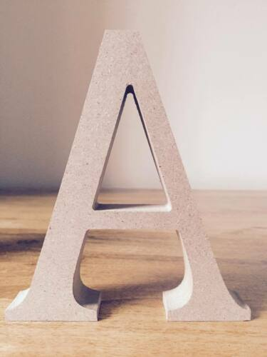 /& Signs Freestanding 13cm Large Wooden Letters and Ampersands Unpainted MDF