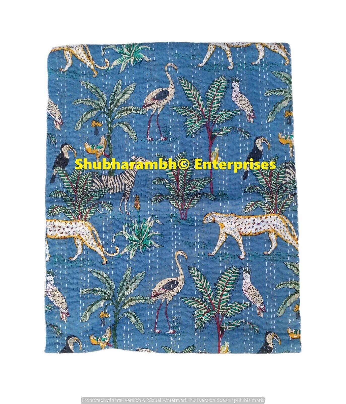 Indische Baumwolle Steppdecke Boho Kantha Decke Wende Tier Motiv Tagesdecke