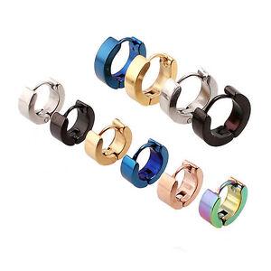 Fashion-Women-039-s-Men-039-s-Stainless-Steel-Hoop-Loop-Huggie-Ear-Stud-Earrings-Punk