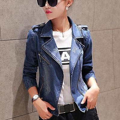 Spring  Women's Casual Slim Fit Denim Washed Blazer Coat Outwear Jean Jacket