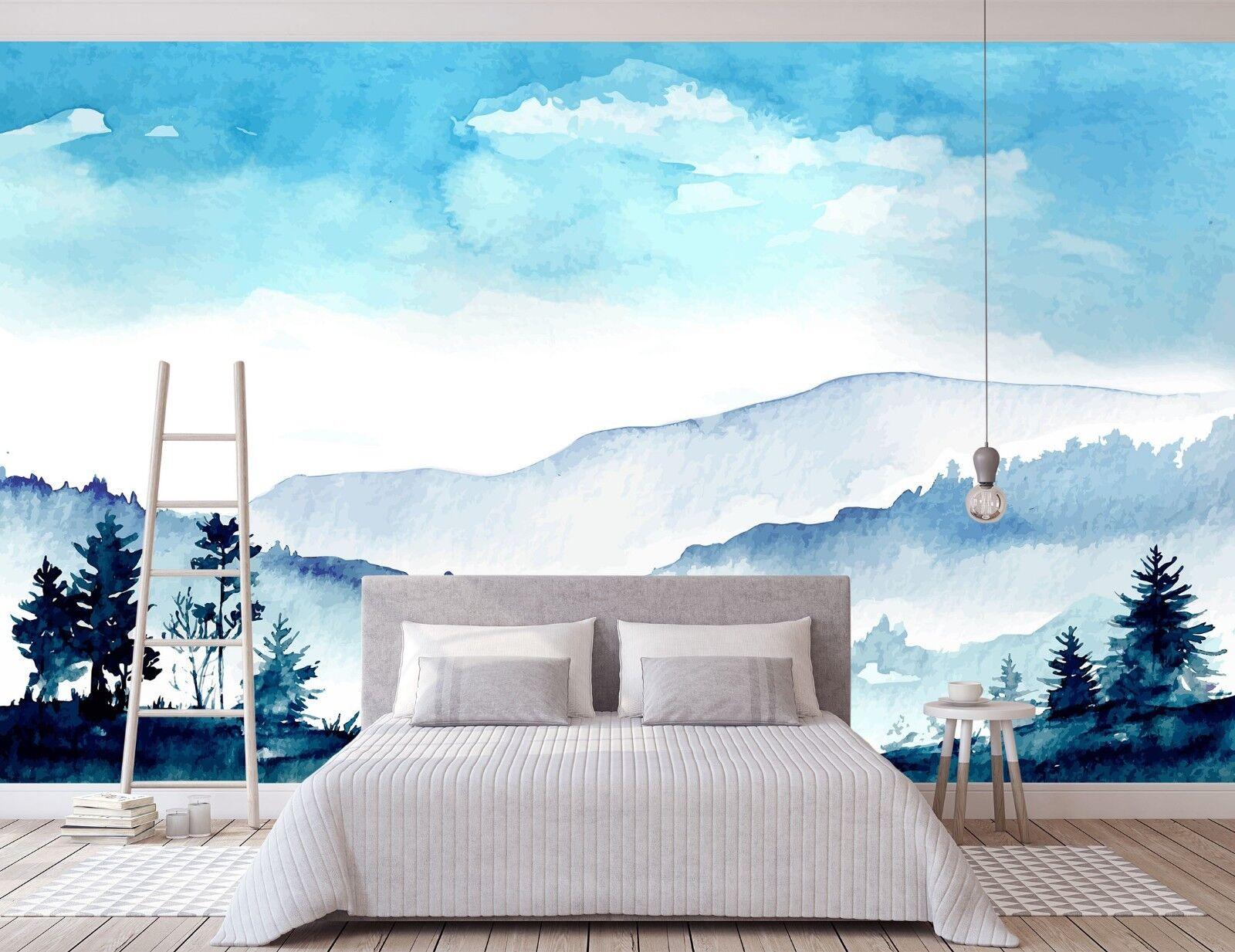 3D bluee Mountain 825 Wall Paper Murals Wall Print Wall Wallpaper Mural AU Summer