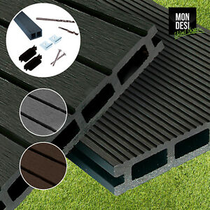 WPC Terrassendielen Komplettbausatz Komplettset 2.20m-4m, 3 Farben, 8-72m² Diele