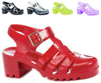 Ladies Low Block Heel Jelly Strappy Sandals Shoes Ankle Jellies Gladiator Size
