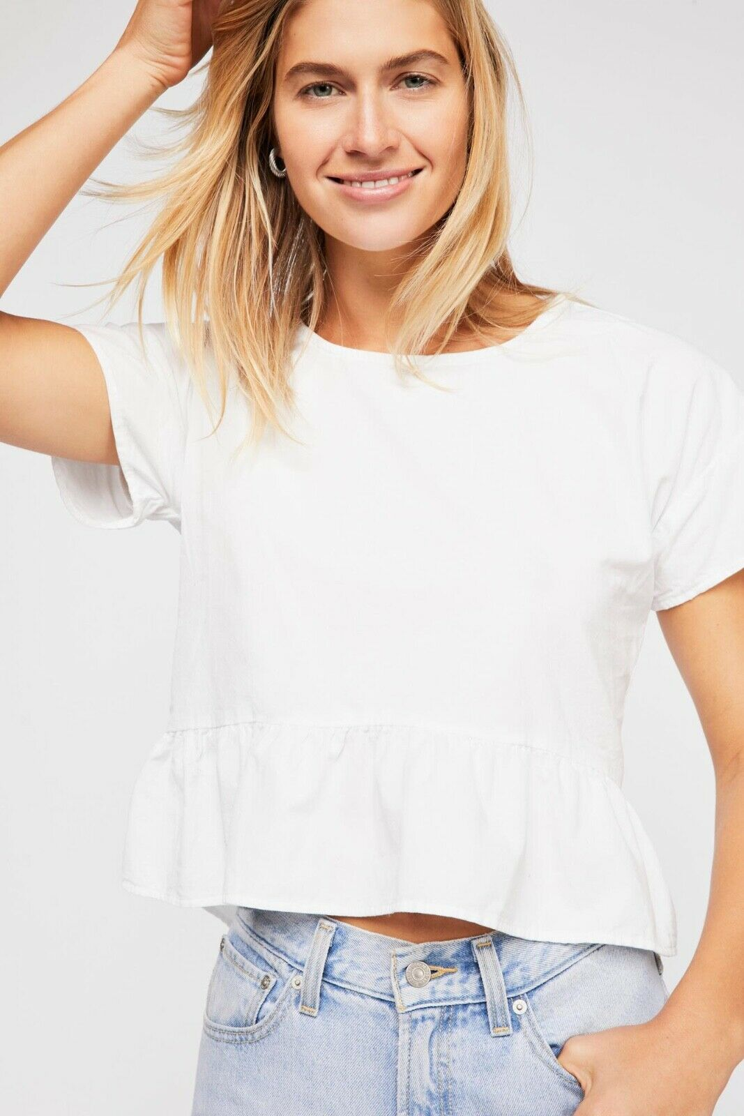 Free People CP Shades Weiß All About You Cord Top Sz XS Short Sleeve Ruffle Hem