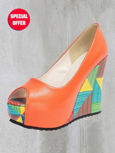 Ladies Orange Open Toe Wedge High Heels