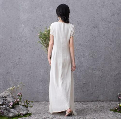 Womens Luxury Short Sleeve Slim Retro Embroidery Linen Dress Gown Maxi Plus Size