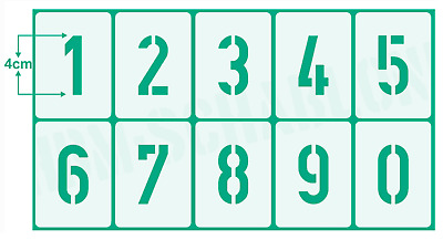 Schablone Nr.35 Zahlen 4cm hoch ● 3 Zahlenschablonen