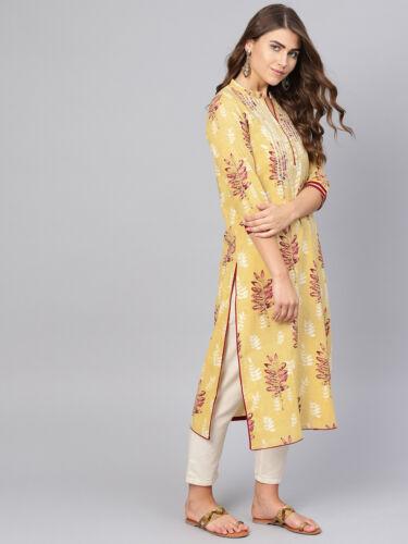 Kurta Women/'s Straight Dress Cotton Floral Printed Beige /& Burgundy Kurti