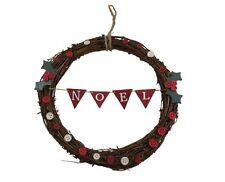 Gisela Graham Noel Twig Christmas Wreath - Small festive wreath - Door Wreath
